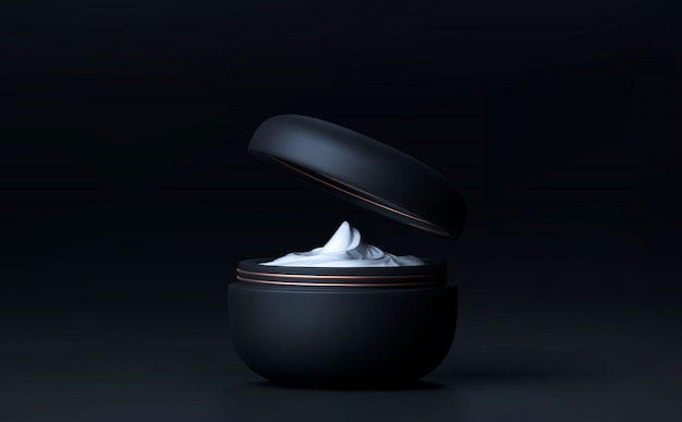Elegant cosmetic face crem jar for skin care on black background. beautiful cosmetic template for ads. makeup products brand. realistic 3d black matte cosmetic jar