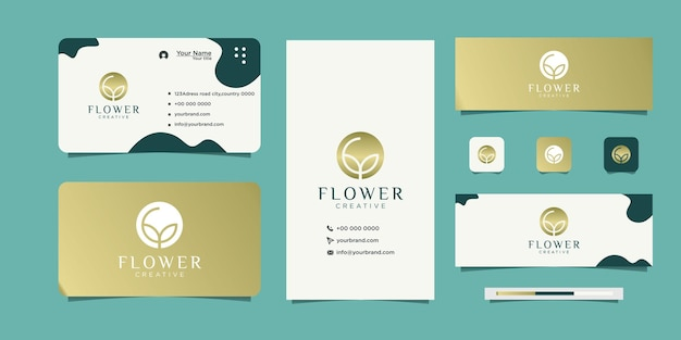Elegant cosmetic rose flower logo and business card