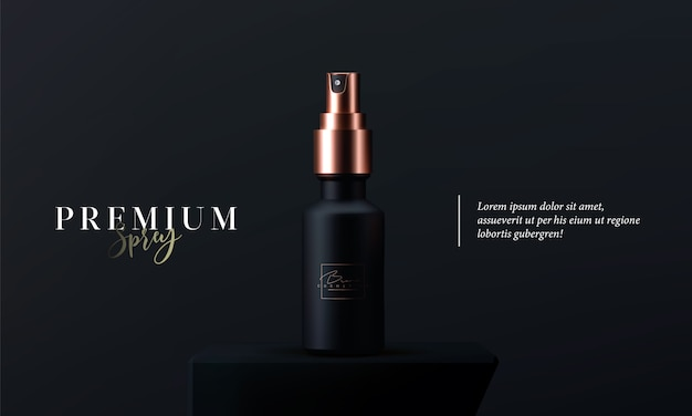 Elegant cosmetic spray for skin care on black background. realistic 3d black and gold matte cosmetic spray . beautiful cosmetic template for ads. makeup products brand.