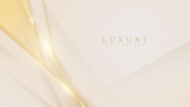 Elegant cream shade background with line golden elements. realistic luxury
