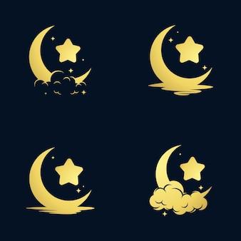 우아한 초승달과 별 로고 디자인
