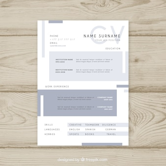 Elegant curriculum template with minimalist style