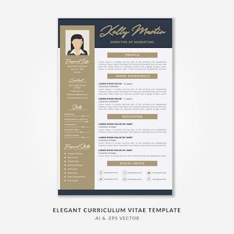 Elegant curriculum vitae template with gold & blue