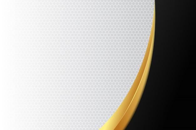 エレガントな曲線の金と白の背景に黒
