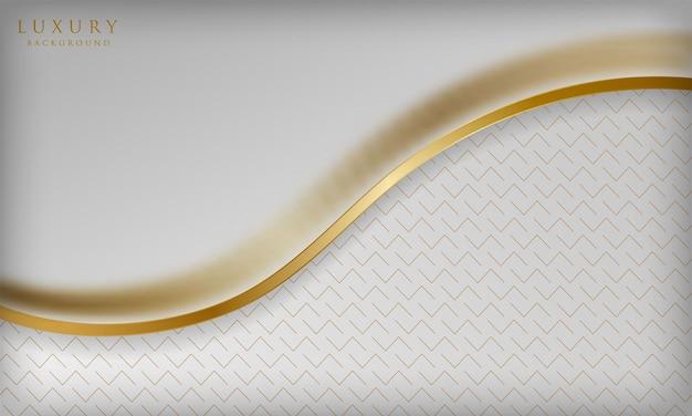金色の線要素とぼかし効果を持つエレガントな曲線の白い豪華な背景