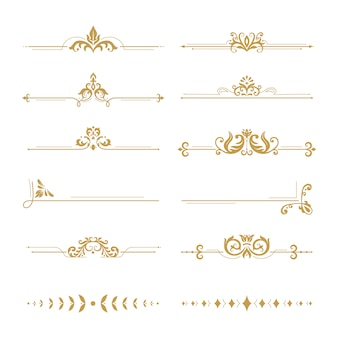 Elegant damask dividers. vintage boutique flower divider, gold floral ornament and wedding book frames design elements set