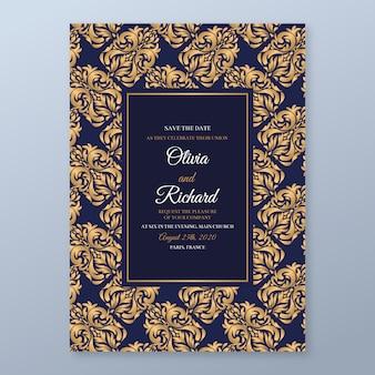 Elegant damask template wedding invitation