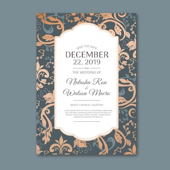 Elegant damask template wedding invitation