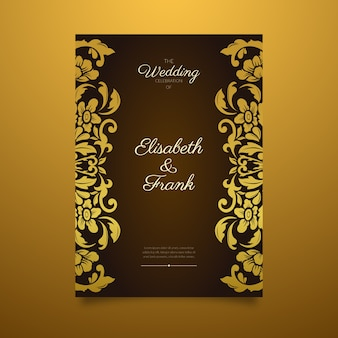 Elegant damask wedding invitation template with golden border