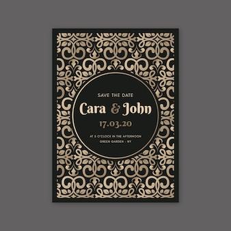 Elegant damask wedding invitation template