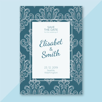 Elegant damask wedding invitation template