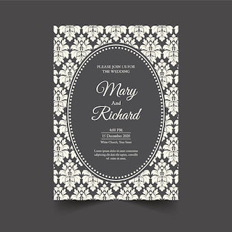 Elegant damask wedding invitation