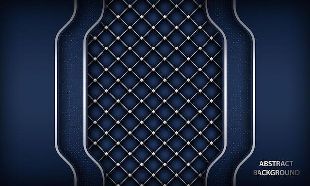 六角形の銀のパターンとエレガントな紺色の背景