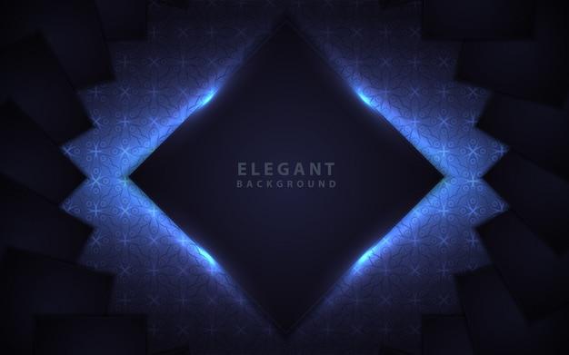 Elegant dark blue frame with light decoration