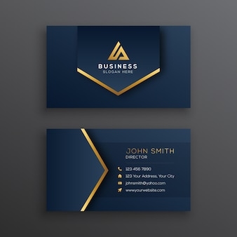 Elegant dark blue and gold business card template