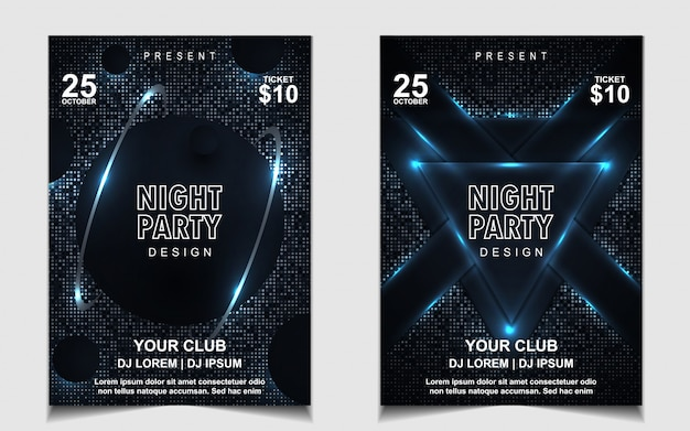 Elegant dark blue night dance party music flyer or poster design
