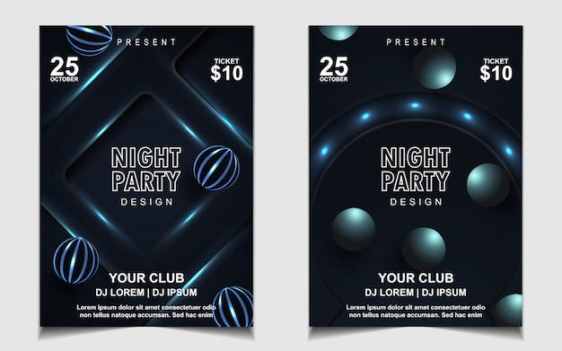Elegant dark blue night dance party music flyer or poster design