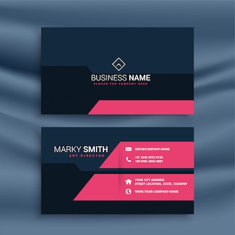 Elegant dark business card with pink geometric shapes