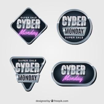 Elegant dark cyber monday labels
