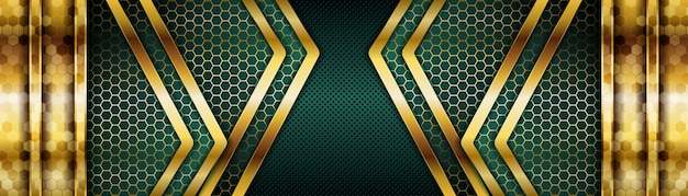 Elegant dark green background combine with golden overlap layer