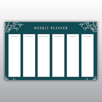 Elegant dark green weekly planner