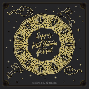 Elegant dark hand drawn background for mid autumn festival