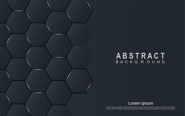 Elegant dark hexagon background with light details