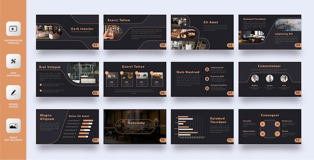 Elegant dark interior business presentation template set
