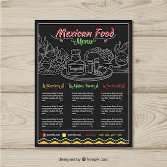 우아한 어두운 멕시코 음식 메뉴 템플릿