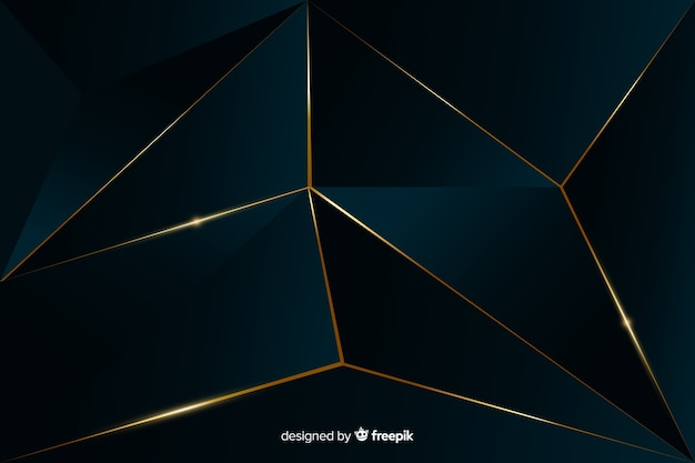 Elegant dark polygonal background with golden lines