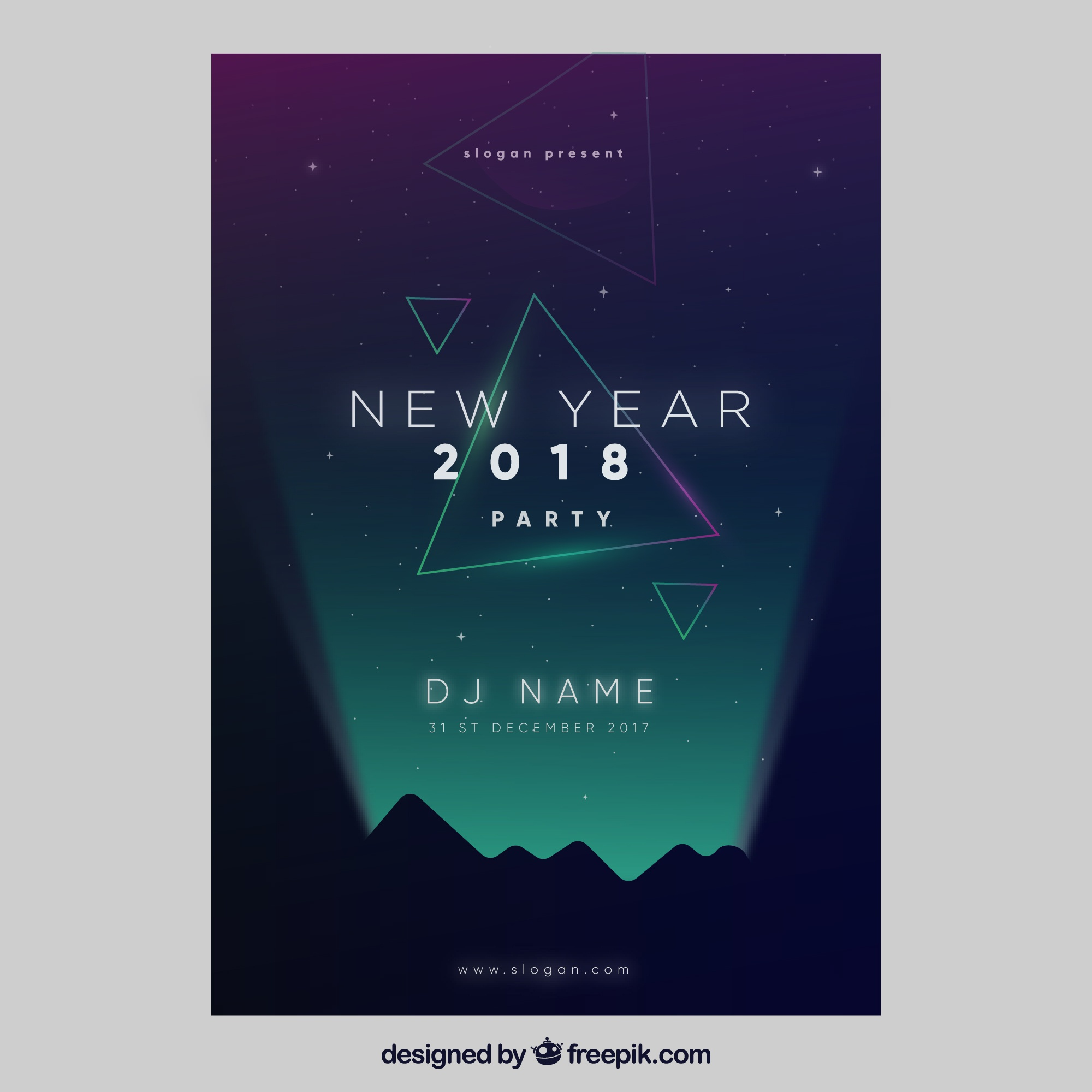 Elegant dark poster template for new year party