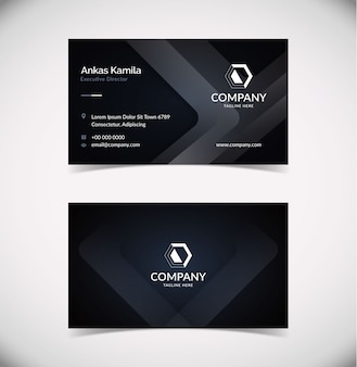 Elegant dark shape business card template