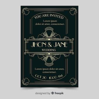 Elegant dark wedding invitation template in art deco style