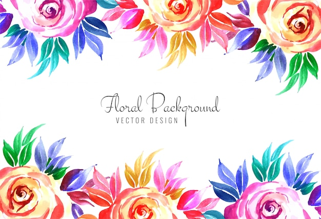 Elegant decorative colorful floral wedding card background