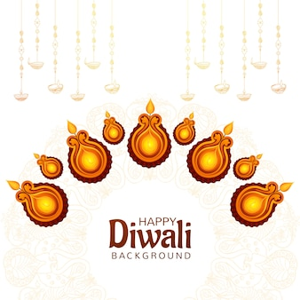 エレガントな装飾的なディワリオイルランプインドのお祭りカードの背景