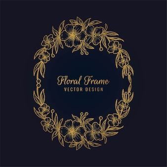 Elegant decorative golden floral frame