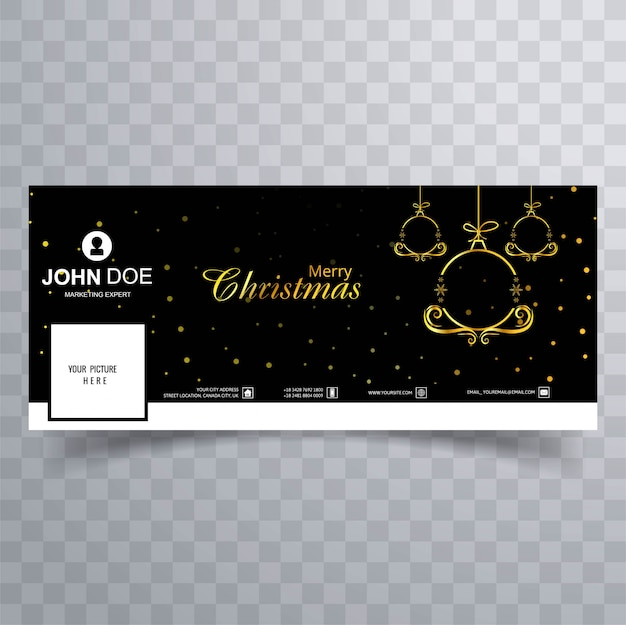Elegant decorative merry christmas ball facebook banner template vector