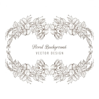 Elegante sfondo decorativo schizzo carta floreale cornice