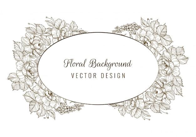 Elegante sfondo decorativo schizzo carta floreale cornice Vettore gratuito
