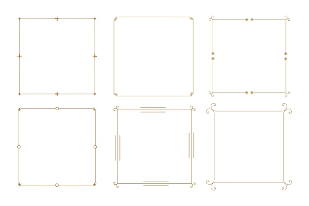 Elegant decorative vintage frame borders set of six