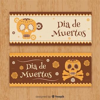 Elegant día de muertos banners with vintage style
