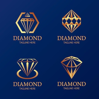 Elegant diamond logo set