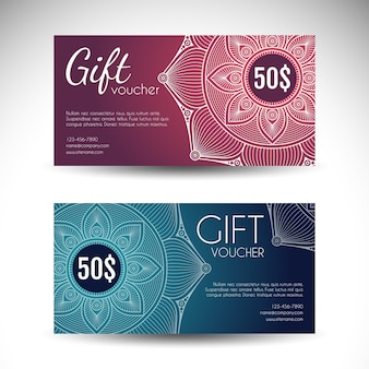 Elegant discount vouchers decorated with mandalas