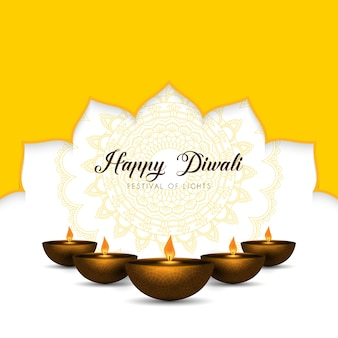 Elegant diwali background with oil lamps and mandala design