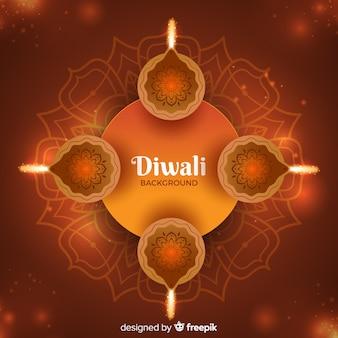 Elegant diwali background with realistic design