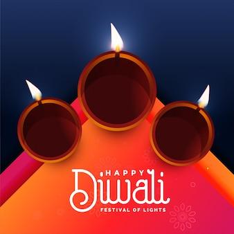 Elegant diwali festival diya greeting design