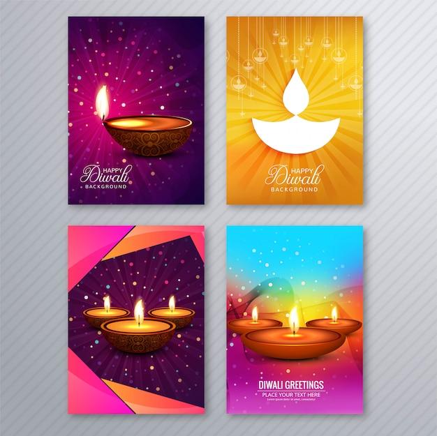 Elegant diwali greeting card template brochure set