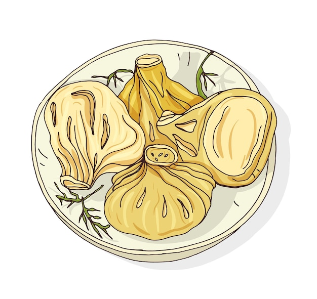 Изящный рисунок отварных или приготовленных на пару хинкали, лежащих на тарелке. аппетитные грузинские пельмени. традиционное кавказское блюдо с начинкой из мясного фарша. рисованной векторные иллюстрации в стиле ретро.