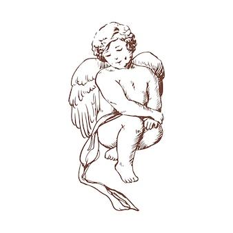 Элегантный рисунок симпатичного сидящего изолированного купидона. маленький ангел, бог или божество романтической любви, мифологический персонаж с крыльями