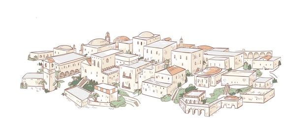 아랍 건축의 아름다운 건물과 오래 된 도시의 우아한 그림. 메디나, 바그다드 또는 마라케시 거리의 전경